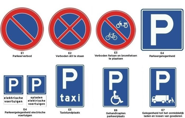 borden categorie e - parkeren en stilstaan 1