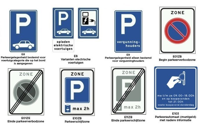 borden categorie e - parkeren en stilstaan 2